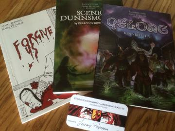 A picture of three ooks 'Forgive Us', 'Scenic Dunnsmouth', and 'Qelong'