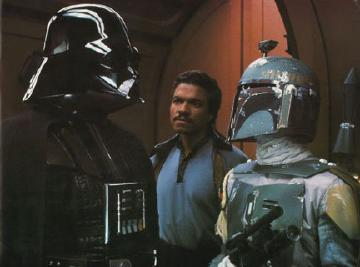 Darth Vader talking with Boba Fett with Lando Calrissian in the background