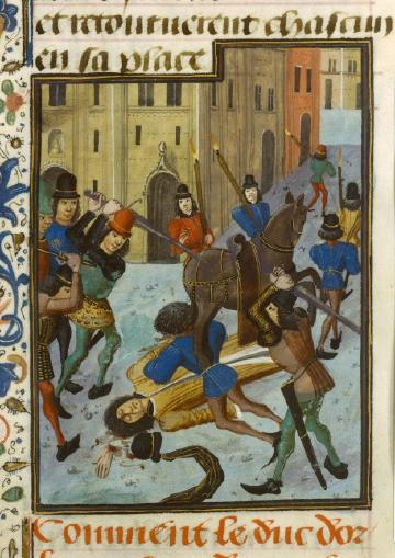 A painting of a city street where a small crowd of men with swords beat and mangle an unconscious man. A horse stands amidst them.
