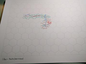 A hex grid with five filled hexes mapping a small region.