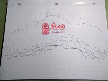 A hand drawn map of a river bed. Stamped with a red skull signifying a dead troll