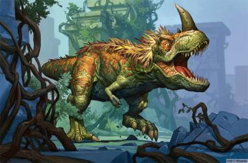 A large feathered T-Rex stomping through a jungle ruins