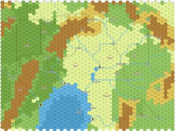 A hexagon map. The center of the map, from north to south, is  plains and rivers draining into a lake. A mountain range running north/south separates the western forest from the central plains and lake. At the vertical midpoint, a forested pass cuts through the mountains. The eastern portion of the map hints at a mountain range.
