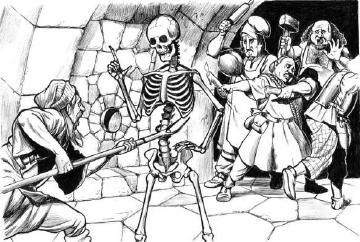 A skeleton with pitchfork in ribcage looking at a shocked peasant, implying that the pitchfork does not hurt.