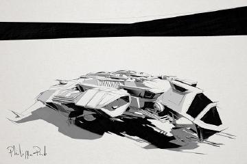 A small blocky spaceship